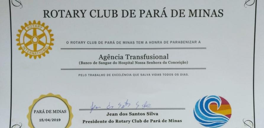 Agência Transfusional de Sangue recebe certificado do Rotary Club